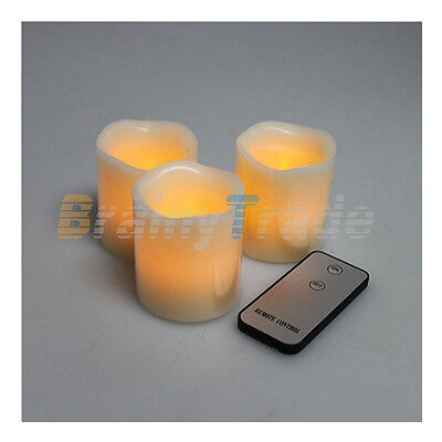 3pcs Flameless Yellow LED Candle Light Lamp with Remote Control For Wedding