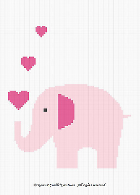 Crochet Patterns - ELEPHANT Pink Baby Girl Afghan Pattern *EASY