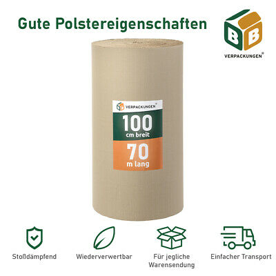 1 x Wellpappe 1,0 x 70 lfm (70m²) C-Welle Rollenwellpappe Rolle Polstermaterial