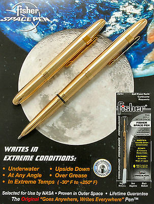 Fisher Space Pens Gold Bullet Pen with Clip #400GCL Plus An Extra Black Refill
