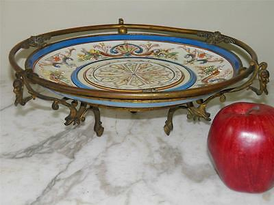 ANTIQUE BRONZE FIGURAL RAISED ENAMEL FRENCH Champleve Fayence Compote marked H