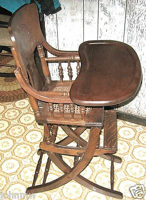 Antique High Chair - Rocker - cane seat Childs Made in USA vintage 1890-1910