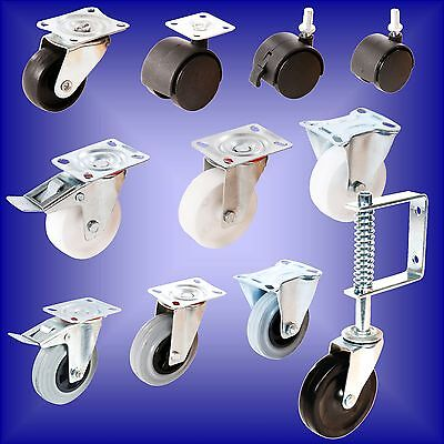 Castors All Sizes Rubber Poly Propylene Wheels Swivel Fixed Brake Caster Packs