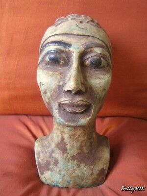 RARE Antique Stone Statue Of Egyptian Ancient Queen NEFERTITI Head Collection