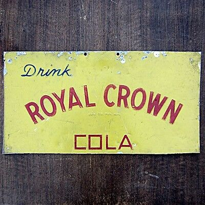 Vintage 1930s/40s Royal Crown Cola Tin Sign Embossed Letters Screen Printed