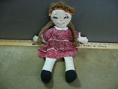 Vintage Antique Rag Doll Handmade Red Dress girls play toy baby old soft
