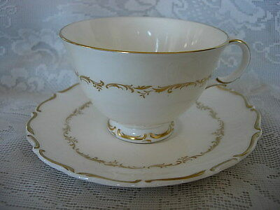 ROYAL DOULTON Richelieu H4957 Bone China Footed Cup & Saucer - Made in England