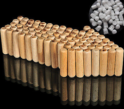 8mm FLUTED HARDWOOD WOODEN DOWELS WITH GLUE PELLETS - 30mm, 35mm, 40mm, 50mm