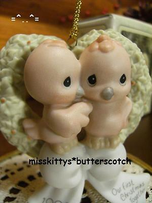 Precious Moments~ORNAMENT~Cute RED LOVE BIRDS~142700~Our First Christmas 1995