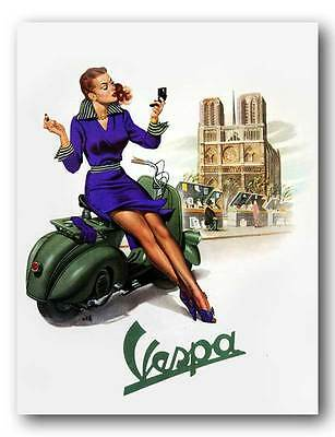VESPA Vintage Pinup Girl QUALITY CANVAS PRINT Retro Scooter Poster B