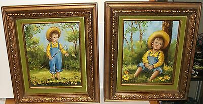 Pair Of M.winterbottom Little Boy Fishing And Resting Oil On Canvas Paintings