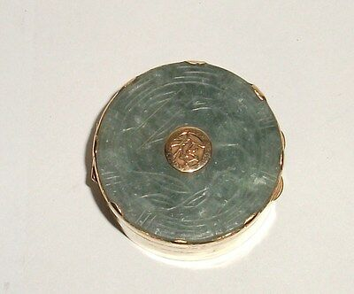 Carved Chinese Spinach Green Jade Medallion Jar Box