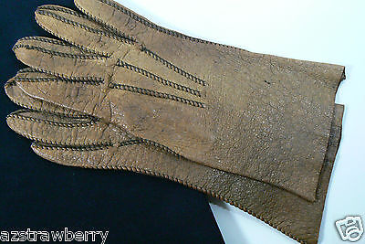 Vintage Ladies Alexette Prime Quality Peccary Pig Skin Leather 6.75 Camel Color