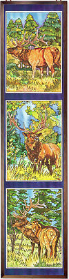 ELK WILD LIFE WAPITI MOOSE TRIPLYCH 9x40 GLASS ART WINDOW PANEL