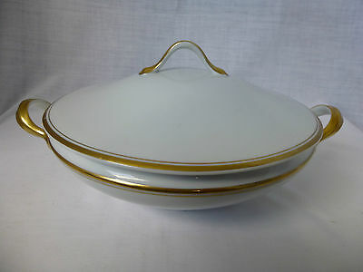 HEINRICH,H & Co,White,2 Gold Band,Round,Covered Vegetable Tureen #2985