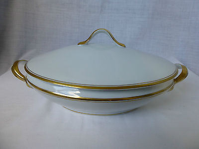 HEINRICH,H & Co,White,2 Gold Band,Oval,Covered Vegetable Tureen #2985