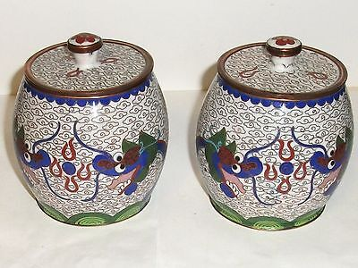 Rare Pair Of Chinese Copper Cloisonne Enamel Chinese Dragon Jar Boxes