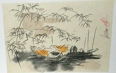 Pair Of Japanese Watercolor Seascape Boat Paintings Signed