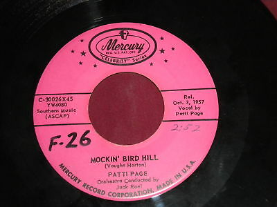"Patti Page ""Mockin' Bird Hill/I Went To Your Wedding""45"