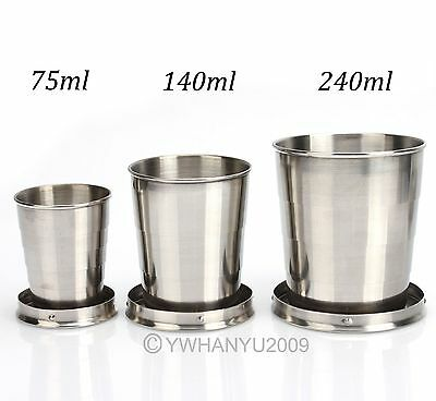 Stainless Steel Folding Travel Cup Keychain Telescopic Retractable Portable PICK