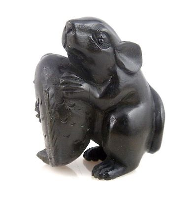 *Ship From U.S* Ebony Ironwood Hand Carved Netsuke Sculpture Mouse Hugging Fish
