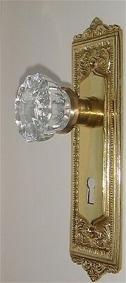 Egg & Dart French Door Crystal Knob Set-Fine Solid Brass-CUSTOM MADE-GUARANTEED