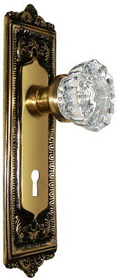 Egg & Dart  Crystal Knob Set-Fine Solid Brass-CUSTOM MADE-to fit your door