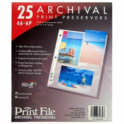 Print File 25 4x6 - 6 Archival Print Preservers Pages