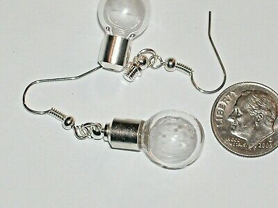 1 Set Pair Fill your own Pendant rice Vial crystal ball Round Bottle earrings