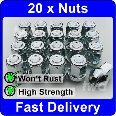 20 x ALLOY WHEEL NUTS FOR VOLVO S40 V50 (2004-12) M12x1.5 TAPERED LUG BOLTS [7V]
