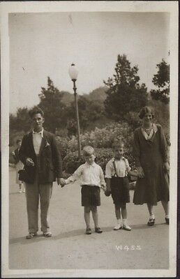 Old Black & White Hoilday Photo Postcard Of Family  Scarborough North bay snaps