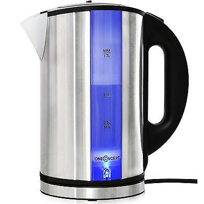 2200W Oneconcept Wasserkocher Black Tee Kaffee Water Kocher Blue-Led Cool-Touch