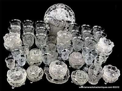 Lot of 63pcs EAPG 1910 Indiana Glass Co. Clear Daisy & Button with Narcissus VTG