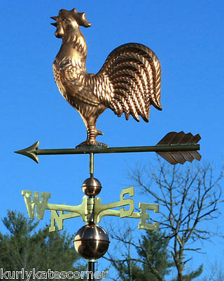 """Quality Copper """"Rooster"""" Weathervane W/ Solid Brass Directionals #2015"""