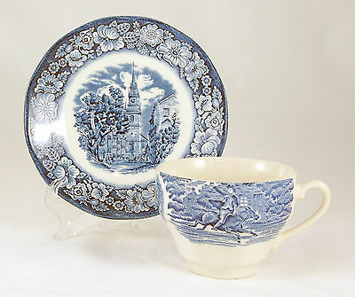 Staffordshire LIBERTY BLUE Flat Cup and Saucer Set 2.625 in. England Ironstone
