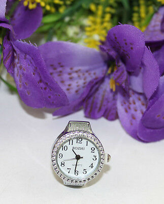 5PCS Silver Tone White Round Finger Ring Watch 22mm #22387