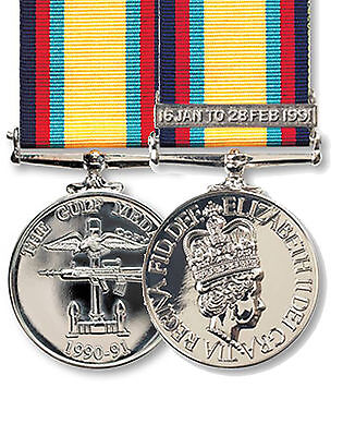 Official Gulf Medal (1990-91) FULL SIZE  Medal, Clasp + Ribbon ( Iraq Gulf war 1