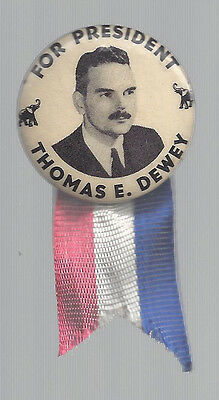 "1948 THOMAS DEWEY 1 1//4/"" PICTURE CAMPAIGN RIBBON BADGE"
