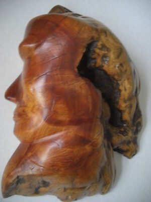 "Vintage Large Driftwood Beautiful Face Carving Signed 15""long X 11""wide Rare!!"