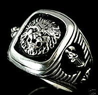 Roman Lion,Fasces Signet  ring,,,Sterling Silver,Lge.