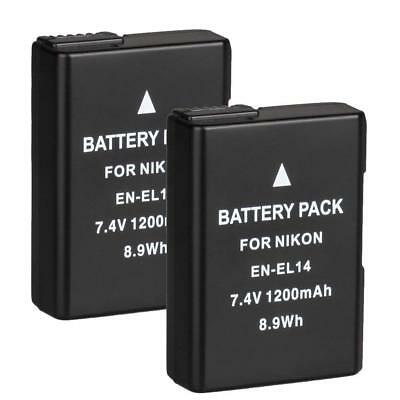 2x EN-EL14 Battery For Nikon D3100 D3200 D3300 D7100 D 5200 D5300 D5100 AU New
