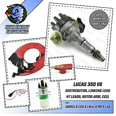 Rover V8 distributor with Performance HT leads & Lucas DLB198 High Energy Coil