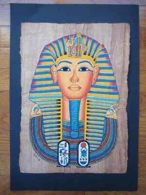 UNIQUE Signed Handmade Papyrus Egyptian_KING Tutankhamun Mask_Art Painting 16x11
