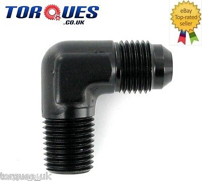 "AN -8 (AN8 AN 08) to 3/8"" NPT 90 Degree Forged Adapter Black"