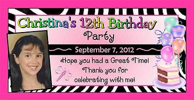 12 PINK ZEBRA BIRTHDAY PARTY FAVORS PHOTO MAGNETS