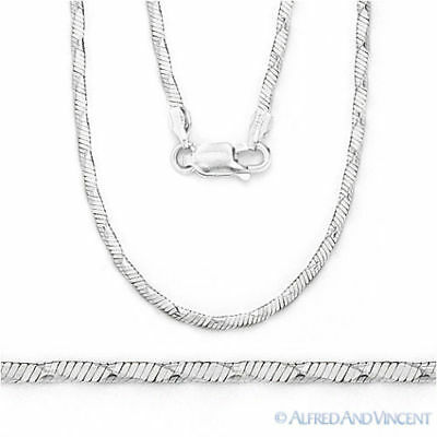.925 Sterling Silver Herringbone 1.2mm Link Chain Fashion Rope Italian Necklace