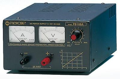 Adjustable regulated power supply 0-15V 6A max - Microset PS105A