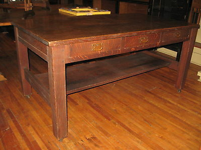 """Signed Gustav Stickley 1903 Mission Oak Library Table #619 3 Drawer 66""""x36"""" Gus"""