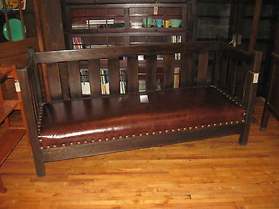 Arts & Crafts Dark Mission Oak & Leather Settle Sofa Couch Settee New Finish