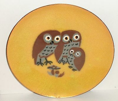 Annemarie Davidson Three Owls Enamel Copper Plate